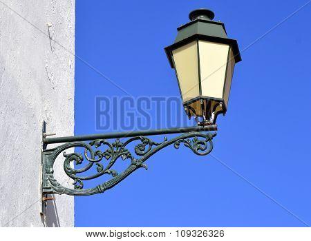Street light in Faro old town Portugal