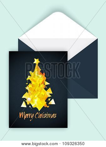 Creative golden Xmas Tree decorated greeting card design with envelope for Merry Christmas celebration.