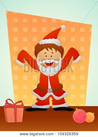 Flyer, Banner or Pamphlet with cute smiling Santa Claus for Merry Christmas celebration.