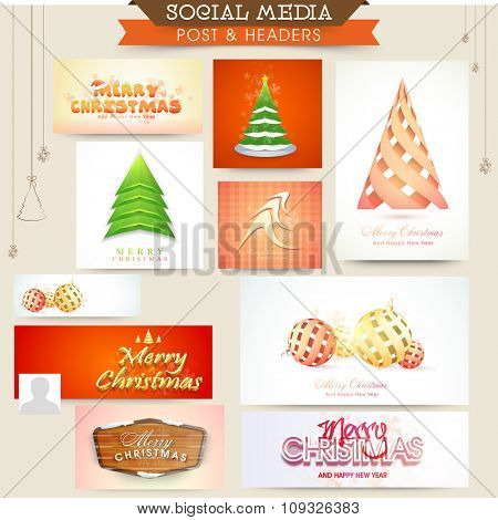 Social Media post and header set with creative ornaments for Merry Christmas celebration.