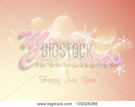 Glossy greeting card design with snowflakes on shiny background for Merry Christmas and Happy New Year celebration.