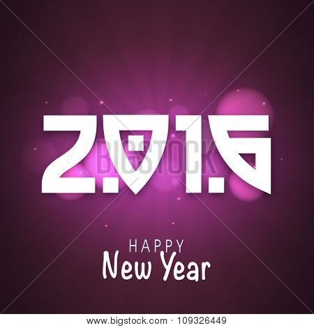 Greeting card design with text 2016 on shiny purple background for Happy New Year celebration.