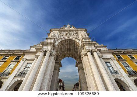 Triumphal Arch in the Praca do Comercio in Lisbon Portugal
