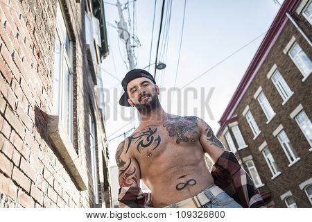 sexy man with tattoo
