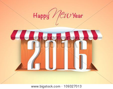 Happy New Year celebration concept with stylish text 2016 under awning on glossy background.