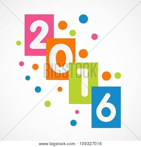 Stylish text 2016 on colorful board for Happy New Year celebration.