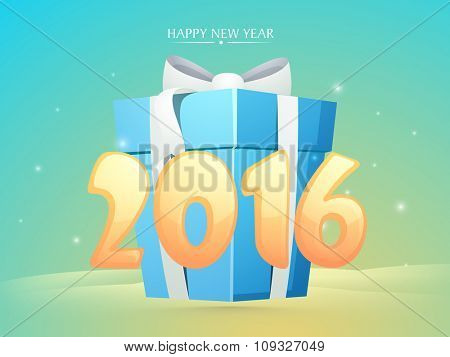 Greeting card design with glossy text 2016 on big gift for Happy New Year celebration.