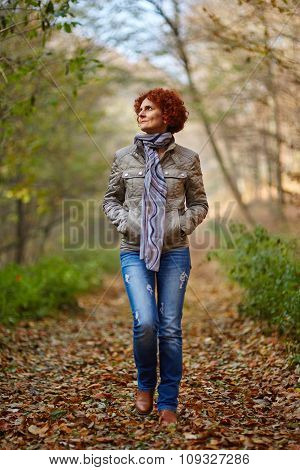 Woman Having A Walk In The Woods