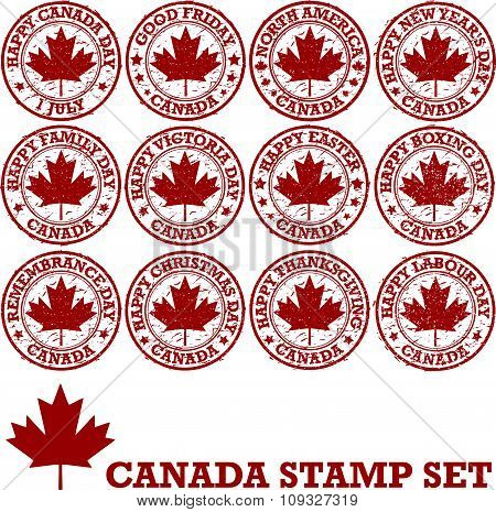 Canadian Holidays rubber stamps