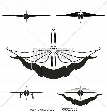 set of logos depicting airplanes