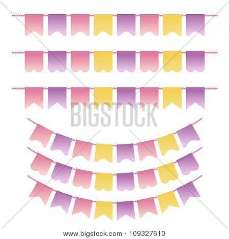 Bunting set pastel violet, yellow  and pink colors. Can be used for scrapbook, greeting  cards, baby shower  and web design. Vintage flags design elements. Vector illustration