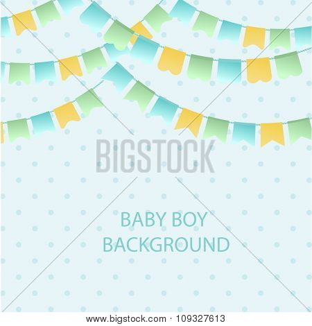 Cute vintage textile blue green and yellow bunting flags for boys baby shower background. Cute flag garlands on polka dot background