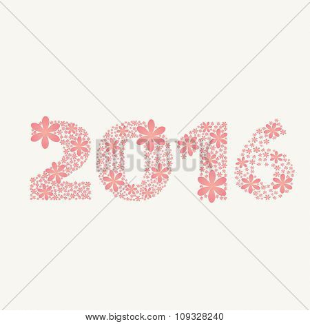 Stylish text 2016 made by flowers for Happy New Year celebration.