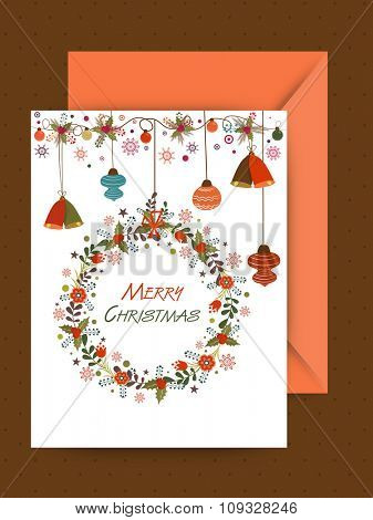 Colorful Jingle Bells and Xmas Balls decorated greeting card for Merry Christmas celebration.