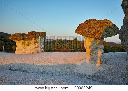Sunrise at a rock formation The Stone Mushrooms near