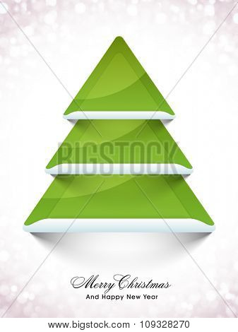 Shiny Flyer, Banner or Pamphlet with creative green Xmas Tree for Merry Christmas and Happy New Year celebration.