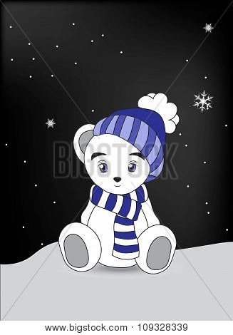 Wnite Teddy Bear In A Blue Cap And A Scarf