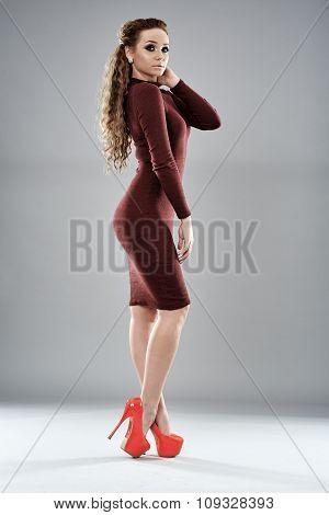 Fashion Model On Gray Background, Full Length