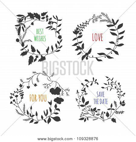 Lovely vector floral wreaths on white background. Round frames with nature elements: flowers, plants