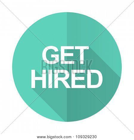 get higreen blue web flat design circle icon on white background