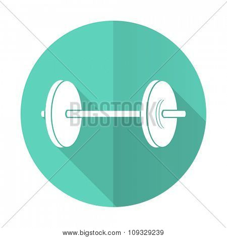 fitness blue web flat design circle icon on white background