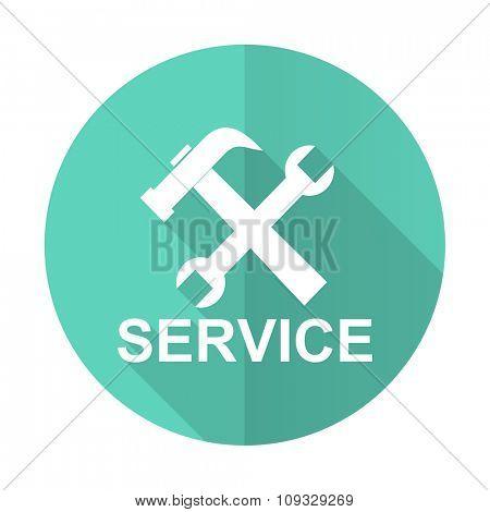 service blue web flat design circle icon on white background