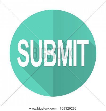 submit blue web flat design circle icon on white background