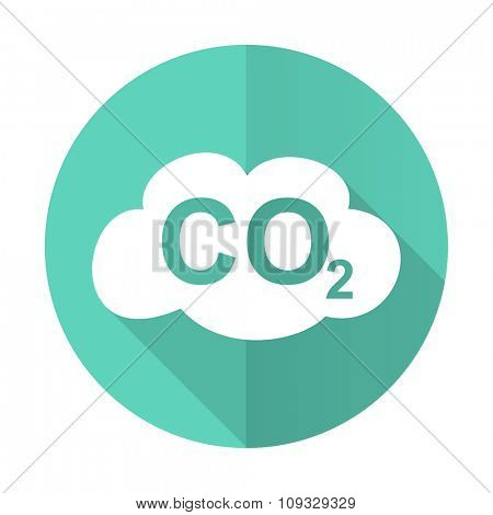 carbon dioxide blue web flat design circle icon on white background