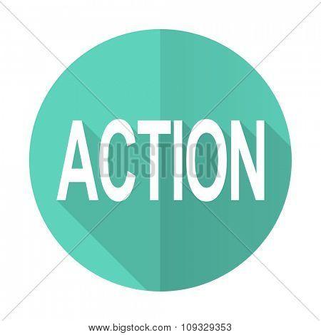 action blue web flat design circle icon on white background