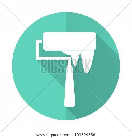 brush blue web flat design circle icon on white background