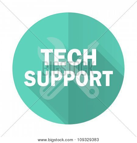 technical support blue web flat design circle icon on white background