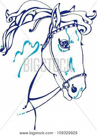 Blue horse head
