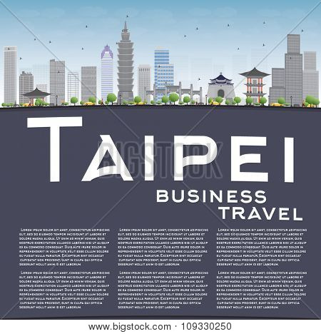 Taipei skyline with grey landmarks, blue sky and copy space. Business travel and tourism concept with place for text. Image for presentation, banner, placard and web site.