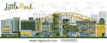 Abstract Little Rock skyline with blue and green buildings. Business travel and tourism concept with modern buildings. Image for presentation, banner and placard