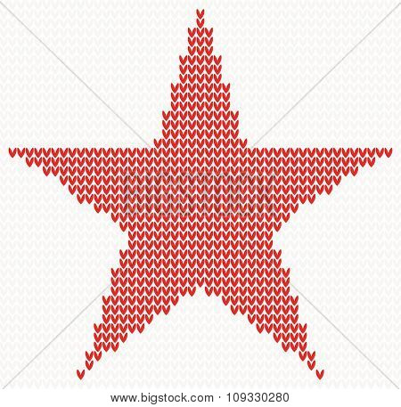 Christmas Knitted background with star. Christmas concept for banner, placard, billboard or web site. New Year retro greeting card. Image for invitation
