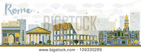 Abstract Rome skyline with color landmarks. Business travel and tourism concept with historic buildings. Image for presentation, banner, placard and web site.