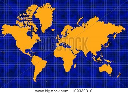Blue Global Map With Yellow Continents