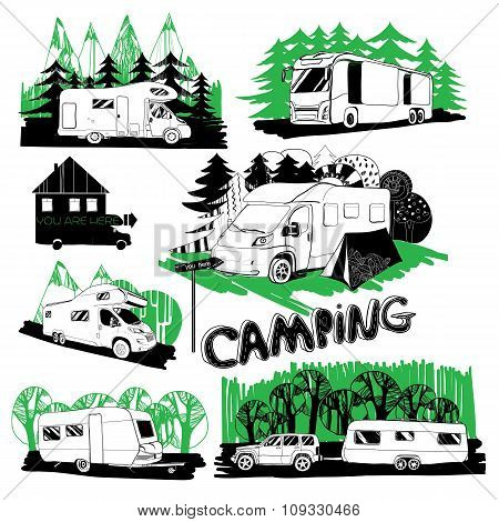 set of different motorhomes and points camping with forest backg