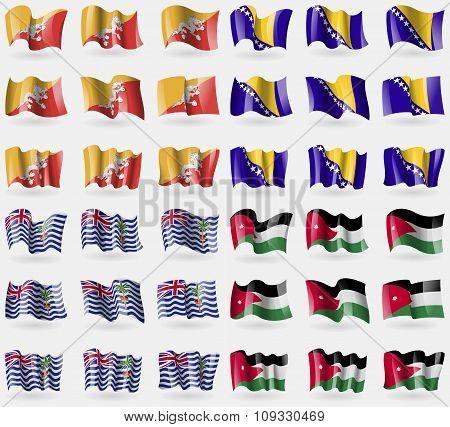 Bhutan, Bosnia And Herzegovina, British Indian Ocean Territory, Jordan. Set Of 36 Flags Of The