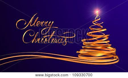 Gold Text Design Of Merry Christmas And Christmas Tree From Gold Tapes Over Purple Background
