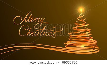 Gold Text Design Of Merry Christmas And Christmas Tree From Gold Tapes Over Yellow Background