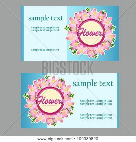 Two business cards with floral disign for your needs