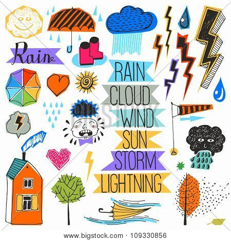 Doodle set - Bad weather, rain. color pictures.