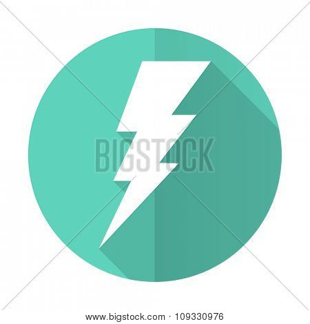 bolt blue web flat design circle icon on white background