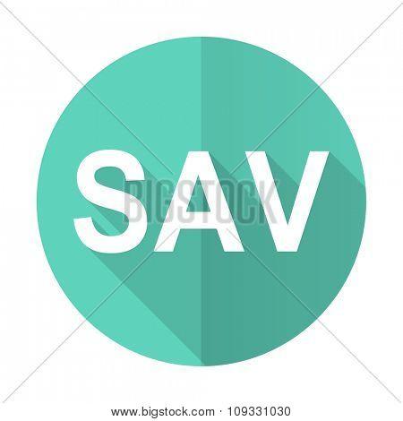 sav blue web flat design circle icon on white background