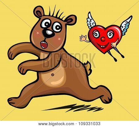 enamored  heart. bear. Saint Valentine. Funny card.