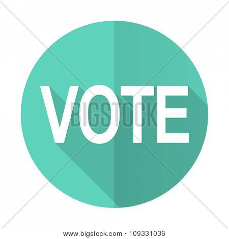 vote blue web flat design circle icon on white background