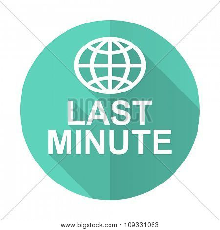 last minute blue web flat design circle icon on white background