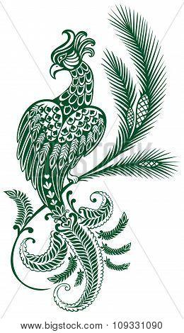 tattoo. Ornamental bird on a branch of a pine. pattern. tattoo.