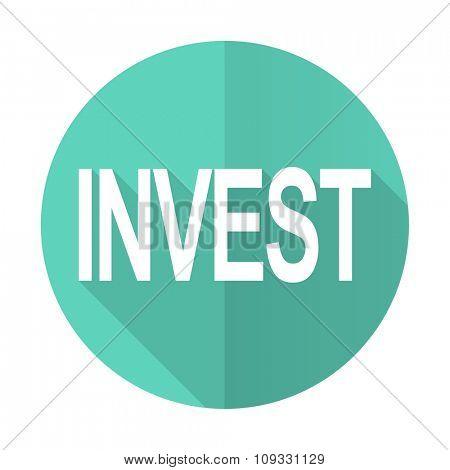 nvest blue web flat design circle icon on white background